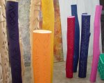 Totems.1 - acrylic, incised wood - varying size & dia